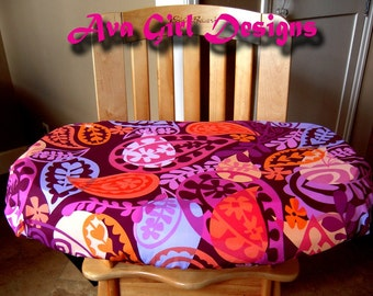 Clearance Sale Item High Chair Tray Cover Maroon, Orange, and Periwinkle Highchair Tablecloth