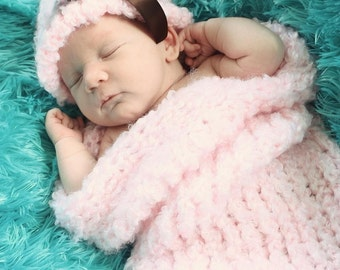 Baby girl hat and cocoon set pink with brown satin bow 3 to 6 months