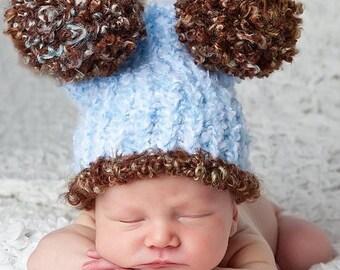 Baby boy hat blue brown photo prop 3 to 6 months