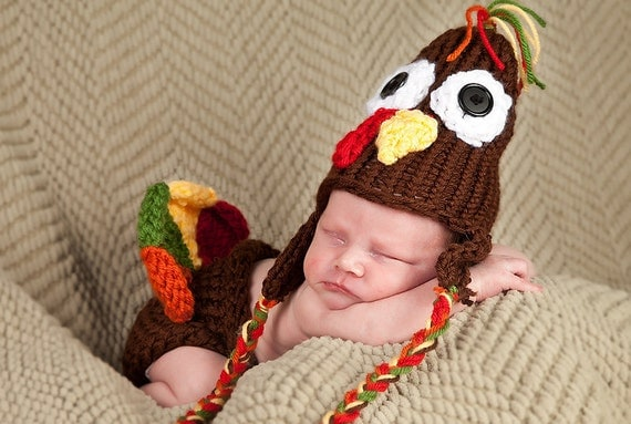 Baby knit hat and diaper cover set Thanksgiving turkey 3 to 6 months boy girl