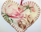 Vintage Barkcloth Pink Rose Heart Sachet Shabby Chic