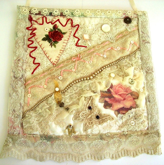 Victorian Style Crazy Quilt Wall Hanging Textile Collage Cream Pink Red