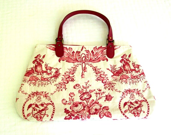 Red and White Vintage Toile Carpet Bag