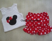 Custom Boutique  Minnie  Mouse Bloomers And Tank  Set 12 Months- 6 years