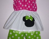 Custom Boutique Minnie MouseTop and Capri Set 12m 18m 2T 3T 4T 5 6 Years