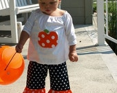 Custom Boutique Fall Pumpkin  Peasant Top and Pants Set 12 Months to 6 Years