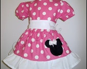 Custom Boutique Minnie Mouse Puffy Sleeve Dress 12 Months to 6 Years