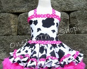 Custom Boutique Clothing  Western pageant casual girl Cow corset 3 peice Set