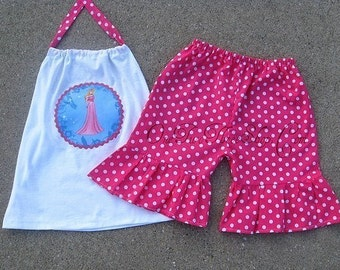 Custom Boutique Disney Princess Aurora Halter Top And Short Set 12 Months to 6 Years
