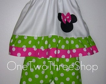 Custom Boutique Minnie Mouse Top and Capri Set 12m 18m 2T 3T 4T 5 6 Years
