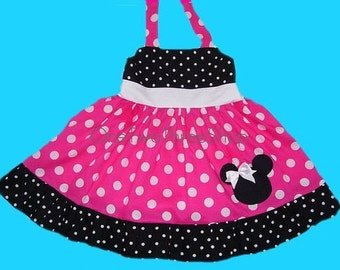 Custom Boutique Minnie  Mouse Halter Hotpink Dress 12 Months to 6 Years