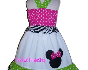 Custom  Boutique Clothing Minnie Mouse Funky Halter Dress