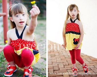 Custom Boutique Minnie Mouse Halter Funky Top Only 12 Months to 6 Years