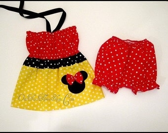 Custom Boutique Minnie Mouse Bloomers and Top Set 12m 18m 2T 3T 4T 5 6