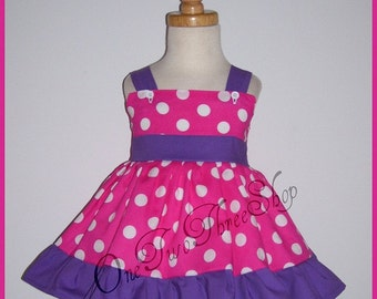 Custom Boutique Clothing Barney Purple Hot Pink Jumper dress NJ girl 12m, 18m and 2t
