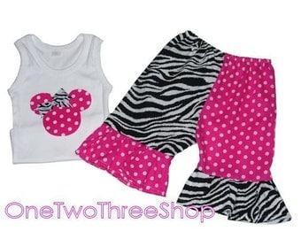 Custom Boutique Clothing Zebra Funky Minnie Mouse Set