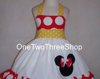 Minnie Mouse Birthday  Custom  Boutique Clothing Dress  Red Large Polka