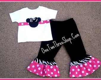 Custom Boutique Minnie Tee Pants set 12 Months to 6 Years