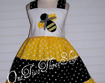 Bumble Bee Custom Boutique Clothing Queen of all  Bee Sassy Girl Dress