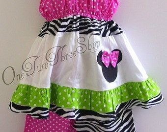 Custom Boutique Clothing Minnie Mouse Funky Capri Set