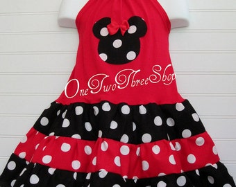 Custom Boutique Clothing Minnie Mouse Tiered  Halter Dress
