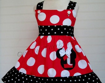 Custom Boutique Clothing Minnie Mouse Jumbo red number Sassy Girl Dress