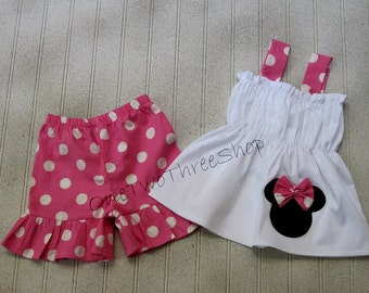 Custom Boutique Clothing Minnie Mouse Short Set