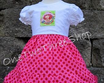 Custom Boutique Clothing Strawberry Short Cake Inspired Puffy Sleeve Dress