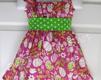 Custom Boutique Easter Flutter Sleeve Dress 12 Months to 6 Years
