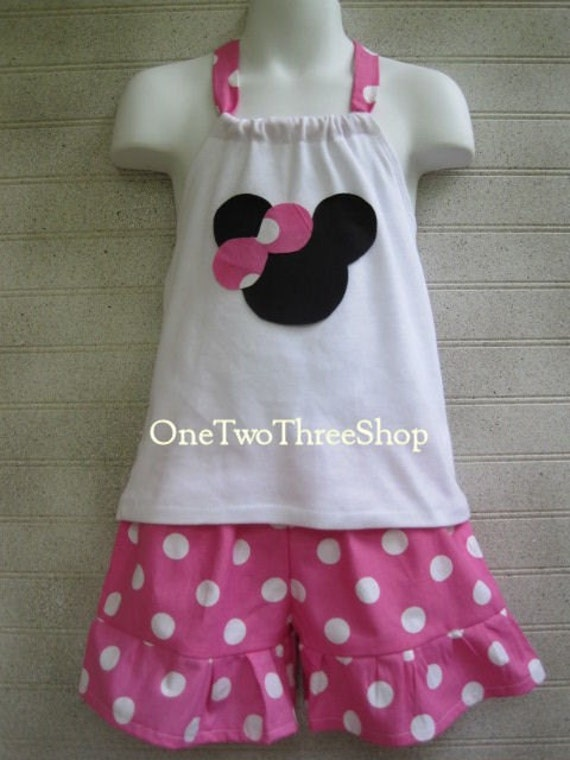 Custom Boutique Minnie Mouse Halter Top And Short Set 12 Months to 6 Years