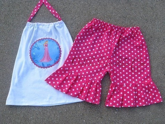 Custom Boutique Disney Princess Aurora Halter Top And Short Set 12 Months to 6 Years