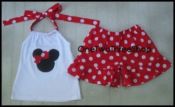 Custom Boutique  Minnie Mouse Hater Top And Shorts Set 12 Months- 6 years