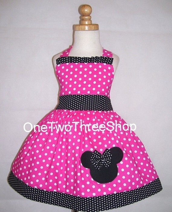 MInnie Mouse Dress Custom Boutique Clothing Small hot pink dot tiny band Sassy Girl dress