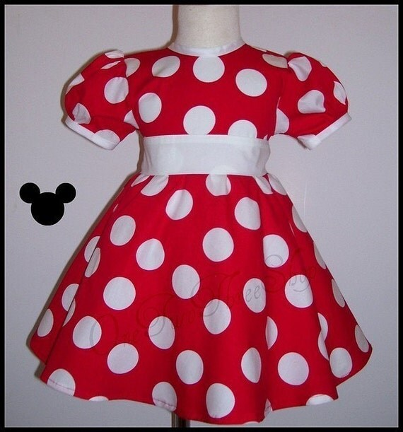 Custom Boutique Clothing Minnie Mouse Puffy Sleeve Dress