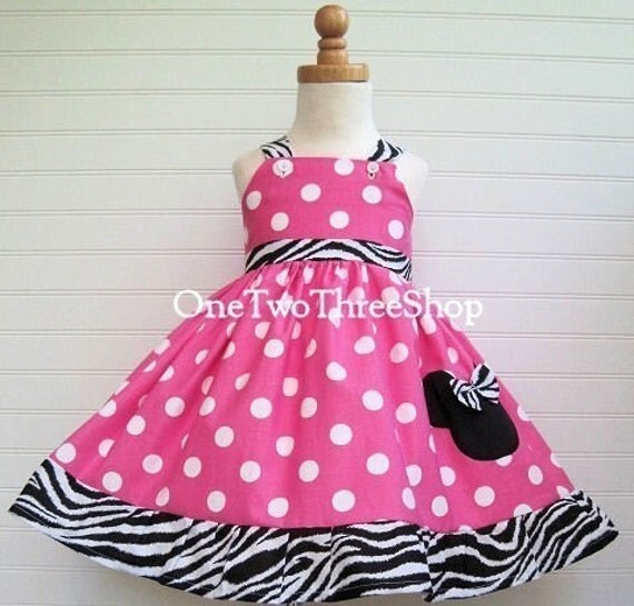Custom Boutique Clothing Minnie Mouse Med  Bubble gum Zebra Sassy Girl Dress