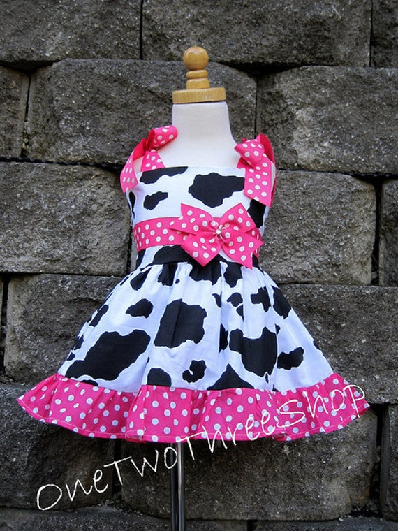 Custom Boutique Clothing  Western Girl  Cow Jumper  Dress