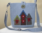 Blue and White Hip bag with Wool Birdhouses