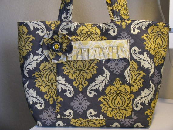 Gray and Yellow Damask Tote Bag