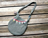 RESERVED- reversible MARKET BAG . raw silk & wool . earth friendly . hand embroidered . new and vintage fabrics