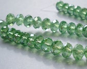 Green Crystal Beads, 36 Rondelles