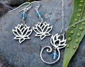 Zen Lotus Flower necklace & earring set - sterling silver, aquamarine crystal - yoga, meditation - tranquiilty- free shipping US