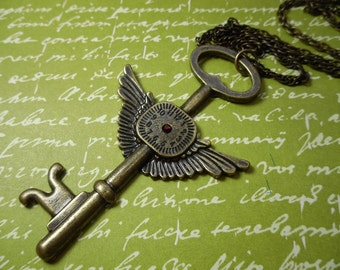 Tempus Fugit Necklace - Antiqued Steampunk brass flying key clock, ruby red crystal, on long brass rope chain - free shipping USA