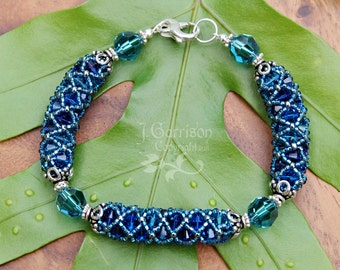 Jeweled Lattice Bracelet - aquas,  blues and silver - hand sewn Swarovski crystals & glass seed beads - free shipping in USA