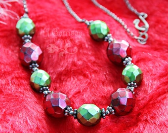 Gothic Christmas Necklace - metallic red and green glass beads, gunmetal black chain - Holiday cheer - free shipping USA