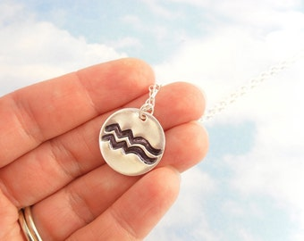 Astrological signs necklace - handmade fine silver pendant - personalized custom birthday - sterling silver chain - free shipping in USA