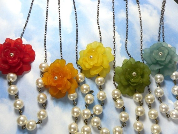 Vintage rose & pearl asymmetrical necklace- red, orange, yellow, green, or blue flower, antiqued brass - free shipping in USA