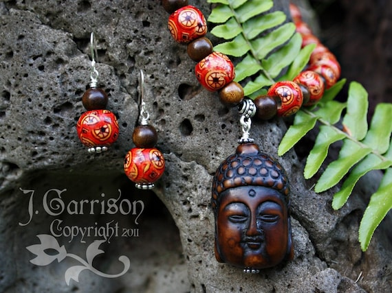 Peaceful Buddha Necklace & Earring Set -red and ebony ethnic wood beads, sterling silver clasp, om charm - free shipping USA