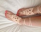 Ostara. Crocheted Spring/Summertime Footsies. Cotton Bare Sole Sandals in Peachy Cream
