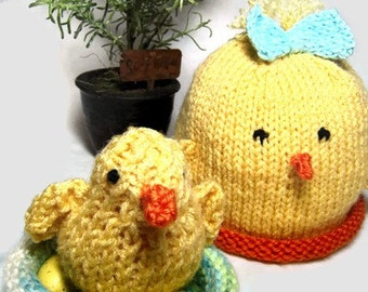 Knit pattern- Chick hat, Knit baby hat, Knit pattern,beanie chick hat, photo prop, free chick pattern included, PDF format