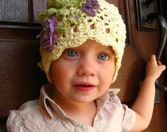 CROCHET PATTERN -  hat pattern, lacy flower hat, children, adults, photo prop, purple flowers, cap pattern, all sizes, PDF format